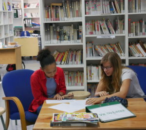 Studying in the school library